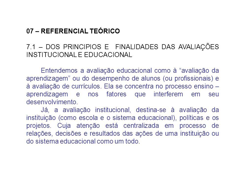 07 – REFERENCIAL TEÓRICO 7.1 – DOS PRINCIPIOS E FINALIDADES DAS AVALIAÇÕES INSTITUCIONAL E EDUCACIONAL Entendemos a avaliação educacional como à avali