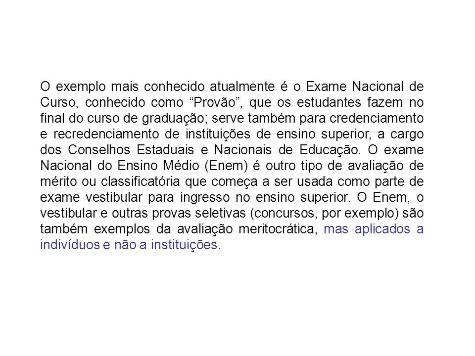 O exemplo mais conhecido atualmente é o Exame Nacional de Curso, conhecido como Provão, que os estudantes fazem no final do curso de graduação; serve