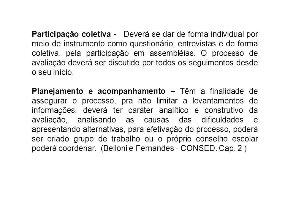 Participação coletiva - Deverá se dar de forma individual por meio de instrumento como questionário, entrevistas e de forma coletiva, pela participaçã