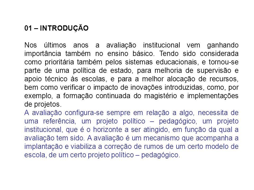 01 – INTRODUÇÃO Nos últimos anos a avaliação institucional vem ganhando importância também no ensino básico. Tendo sido considerada como prioritária t