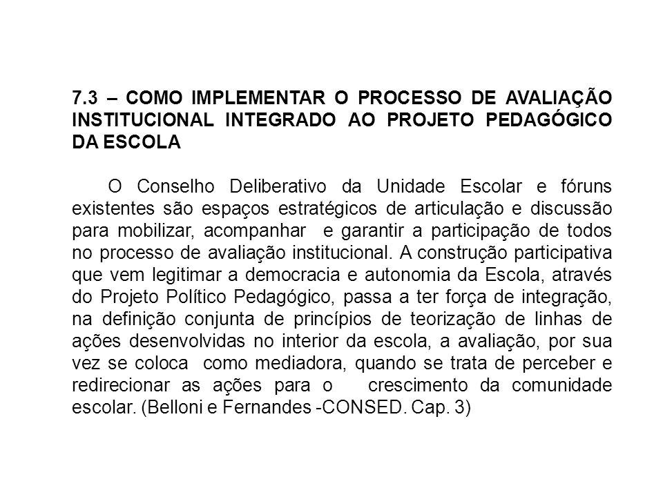 7.3 – COMO IMPLEMENTAR O PROCESSO DE AVALIAÇÃO INSTITUCIONAL INTEGRADO AO PROJETO PEDAGÓGICO DA ESCOLA O Conselho Deliberativo da Unidade Escolar e fó