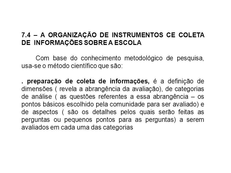 7.4 – A ORGANIZAÇÃO DE INSTRUMENTOS CE COLETA DE INFORMAÇÕES SOBRE A ESCOLA Com base do conhecimento metodológico de pesquisa, usa-se o método científ