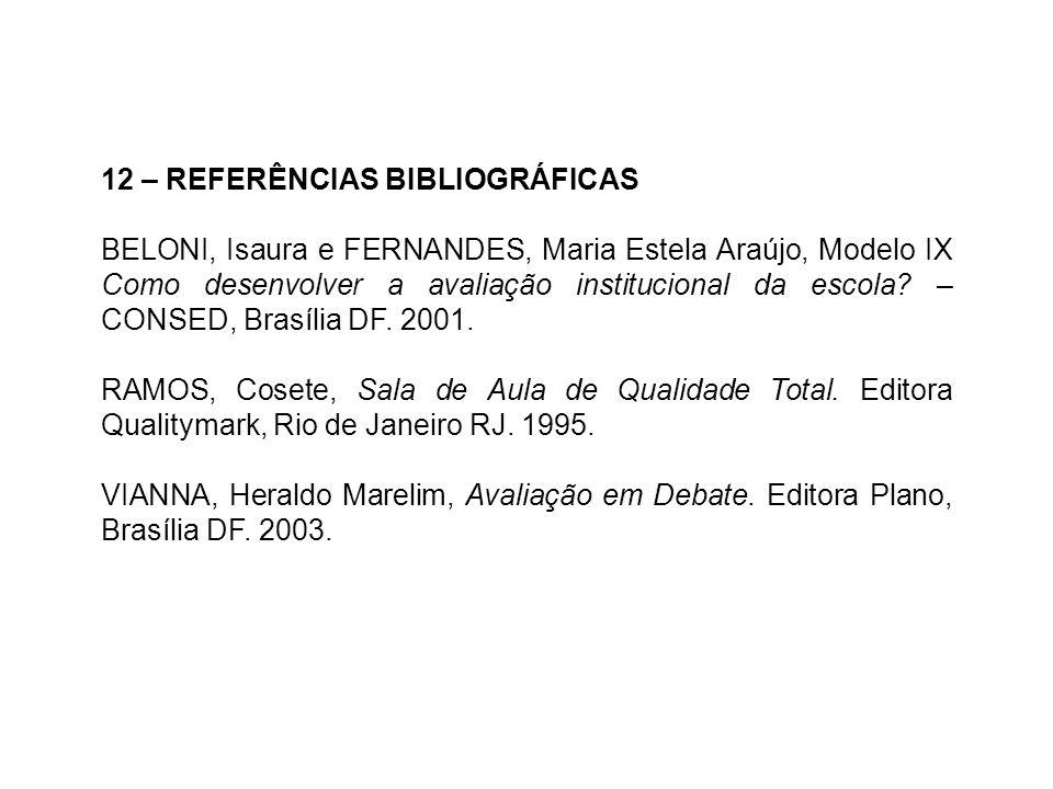 12 – REFERÊNCIAS BIBLIOGRÁFICAS BELONI, Isaura e FERNANDES, Maria Estela Araújo, Modelo IX Como desenvolver a avaliação institucional da escola? – CON