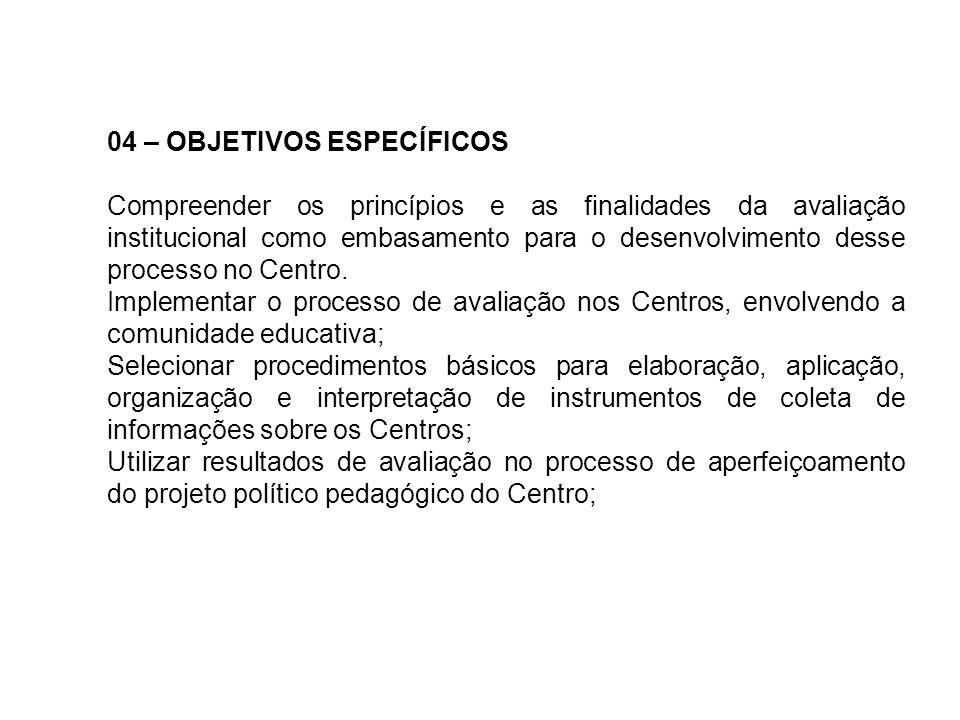 04 – OBJETIVOS ESPECÍFICOS Compreender os princípios e as finalidades da avaliação institucional como embasamento para o desenvolvimento desse process