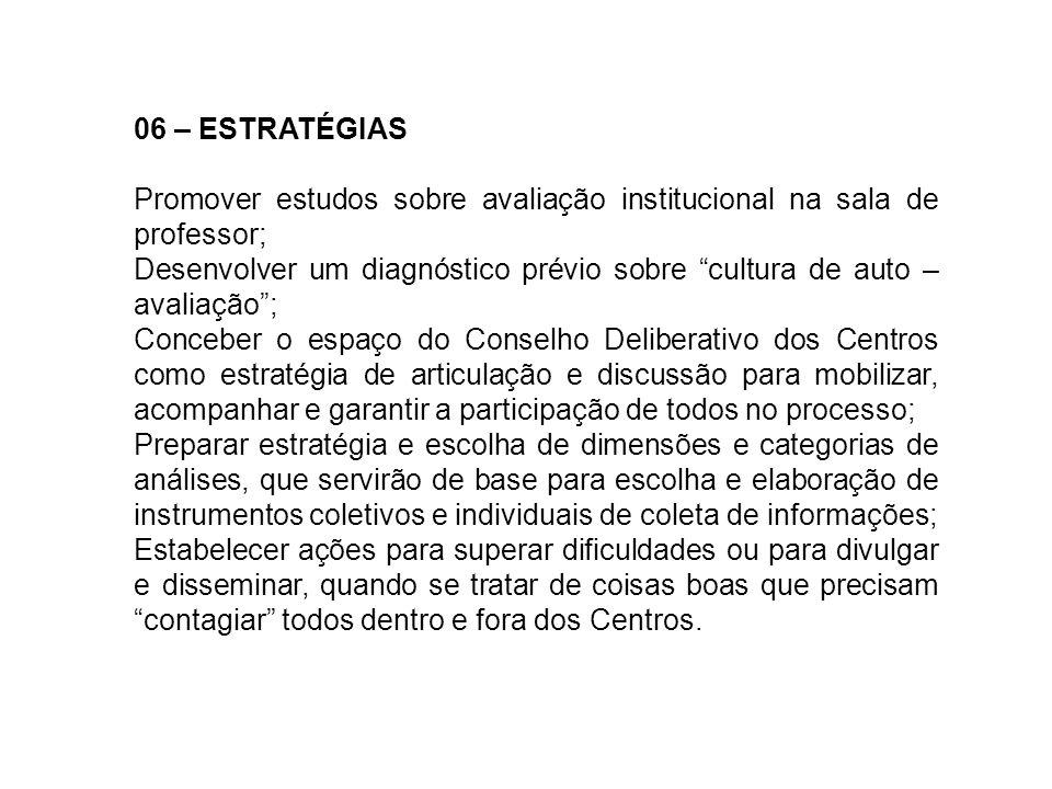 06 – ESTRATÉGIAS Promover estudos sobre avaliação institucional na sala de professor; Desenvolver um diagnóstico prévio sobre cultura de auto – avalia