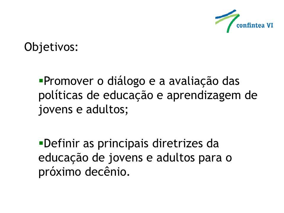Objetivos: Promover o diálogo e a avaliação das políticas de educação e aprendizagem de jovens e adultos; Definir as principais diretrizes da educação de jovens e adultos para o próximo decênio.