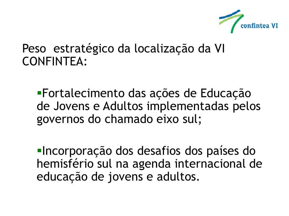 Relevância para o Brasil: Reforça a política brasileira de cooperação sul-sul; Maior visibilidade ao Plano de Desenvolvimento da Educação – PDE; Sublinha a seriedade com que o país vem tratando as metas das agendas de educação e desenvolvimento internacionais como EFA, Metas de Desenvolvimento do Milênio, UNLD e Década das Nações Unidas de Educação para o Desenvolvimento Sustentável; Consolida e fortalece a política nacional de Educação de Jovens e Adultos.