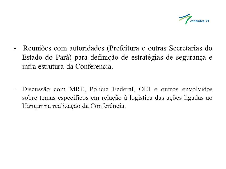 -Preparação interna (SECAD/MEC) das diretrizes que foram utilizadas para a organização das listas dos participantes do Brasil – Delegação, convidados e organizadores.