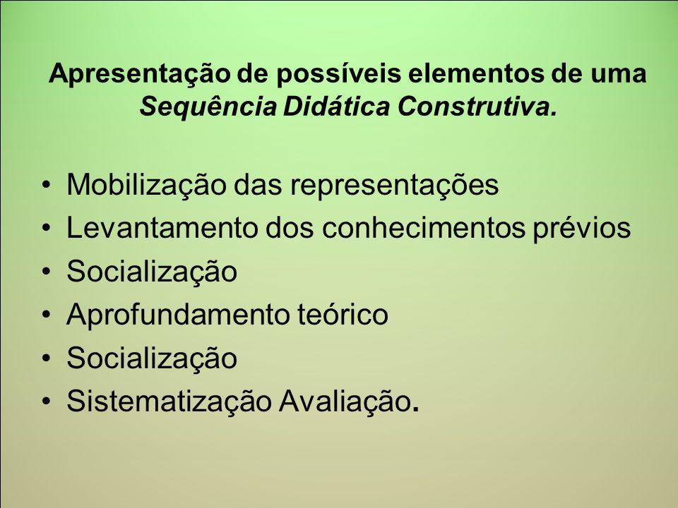 Apresentação de possíveis elementos de uma Sequência Didática Construtiva. Mobilização das representações Levantamento dos conhecimentos prévios Socia