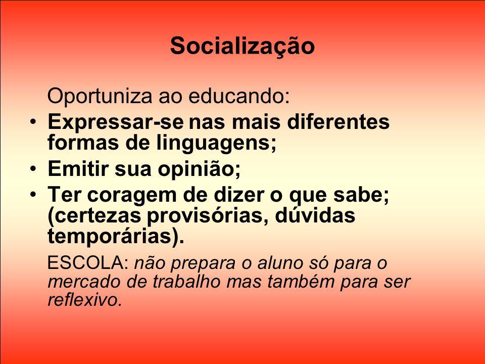Socialização Oportuniza ao educando: Expressar-se nas mais diferentes formas de linguagens; Emitir sua opinião; Ter coragem de dizer o que sabe; (cert