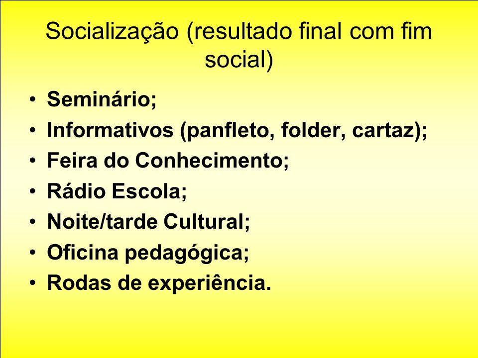 Socialização (resultado final com fim social) Seminário; Informativos (panfleto, folder, cartaz); Feira do Conhecimento; Rádio Escola; Noite/tarde Cul