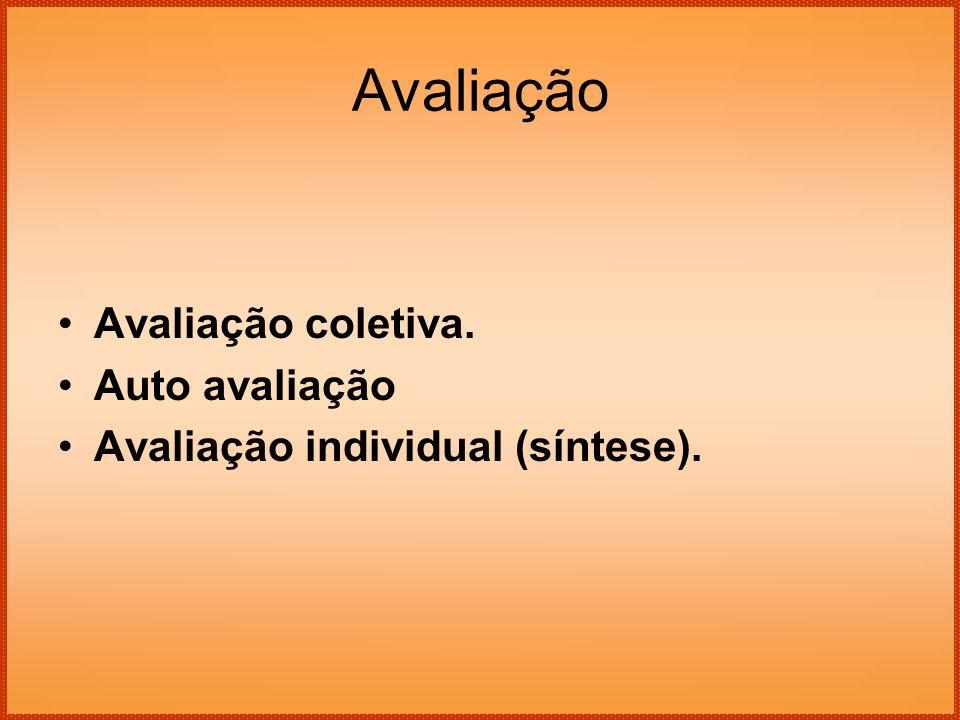 Avaliação Avaliação coletiva. Auto avaliação Avaliação individual (síntese).