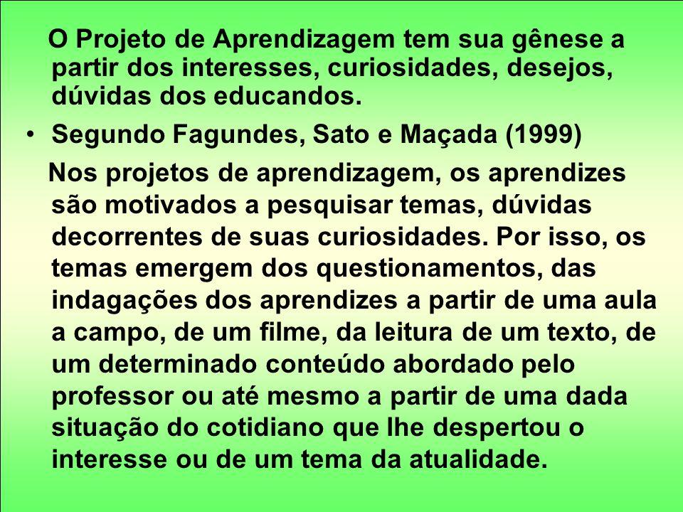 O Projeto de Aprendizagem tem sua gênese a partir dos interesses, curiosidades, desejos, dúvidas dos educandos. Segundo Fagundes, Sato e Maçada (1999)