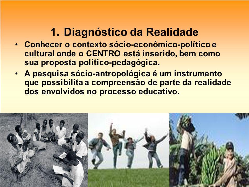 1. Diagnóstico da Realidade Conhecer o contexto sócio-econômico-político e cultural onde o CENTRO está inserido, bem como sua proposta político-pedagó