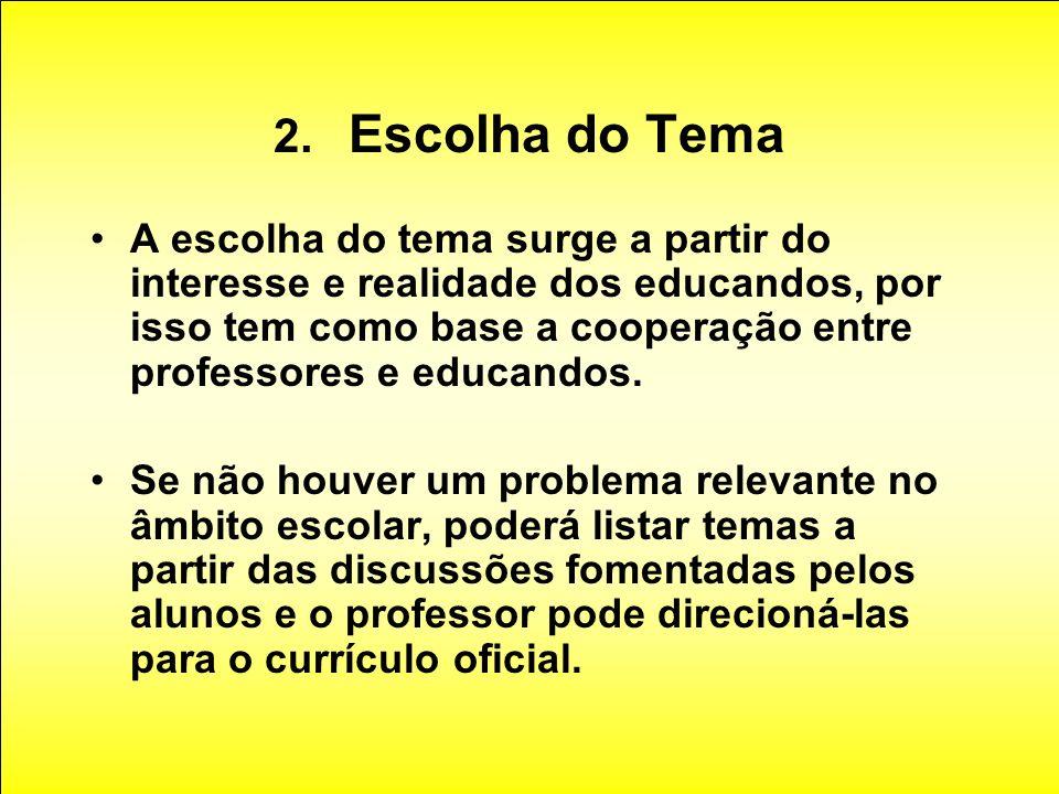2. Escolha do Tema A escolha do tema surge a partir do interesse e realidade dos educandos, por isso tem como base a cooperação entre professores e ed