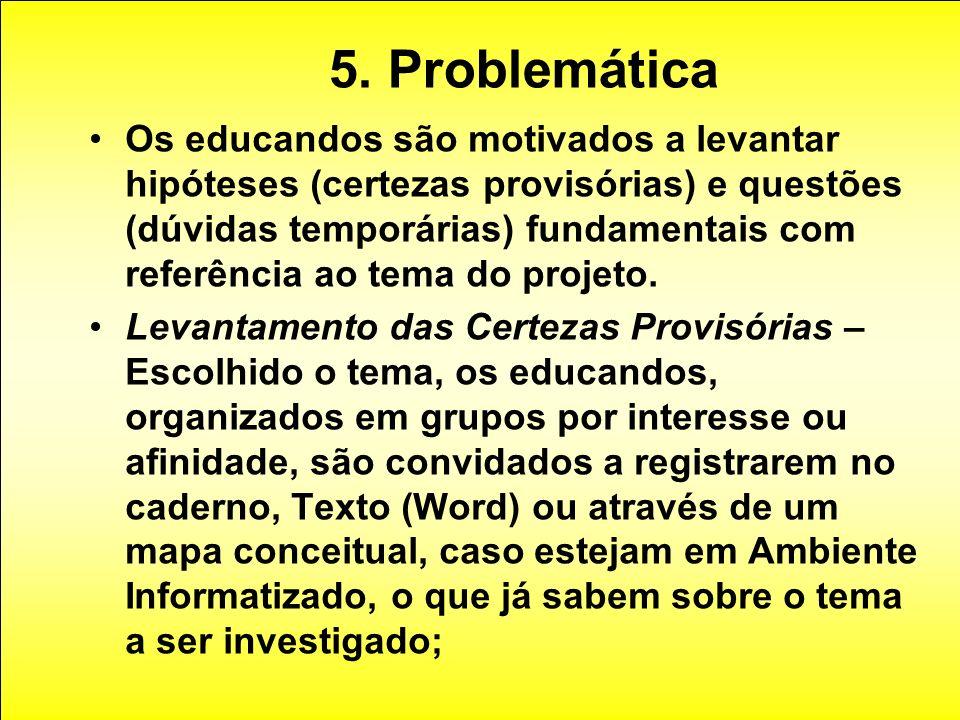 5. Problemática Os educandos são motivados a levantar hipóteses (certezas provisórias) e questões (dúvidas temporárias) fundamentais com referência ao
