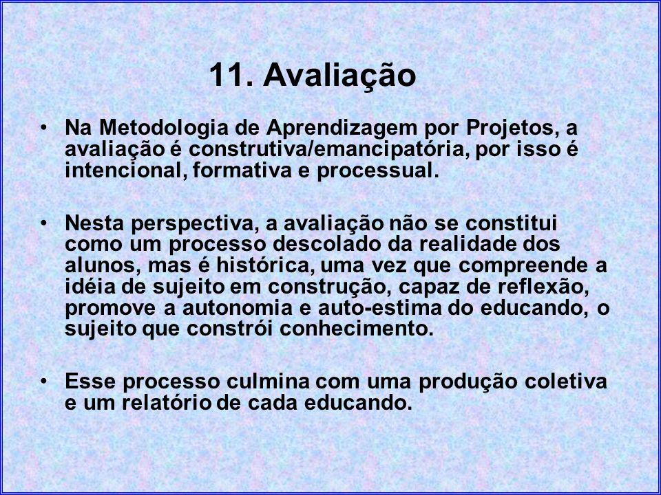 11. Avaliação Na Metodologia de Aprendizagem por Projetos, a avaliação é construtiva/emancipatória, por isso é intencional, formativa e processual. Ne