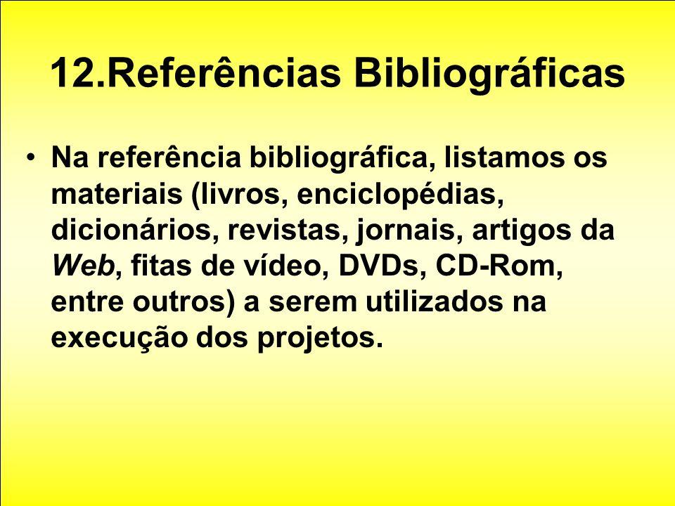12.Referências Bibliográficas Na referência bibliográfica, listamos os materiais (livros, enciclopédias, dicionários, revistas, jornais, artigos da We
