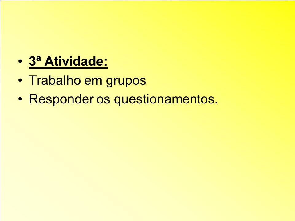3ª Atividade: Trabalho em grupos Responder os questionamentos.