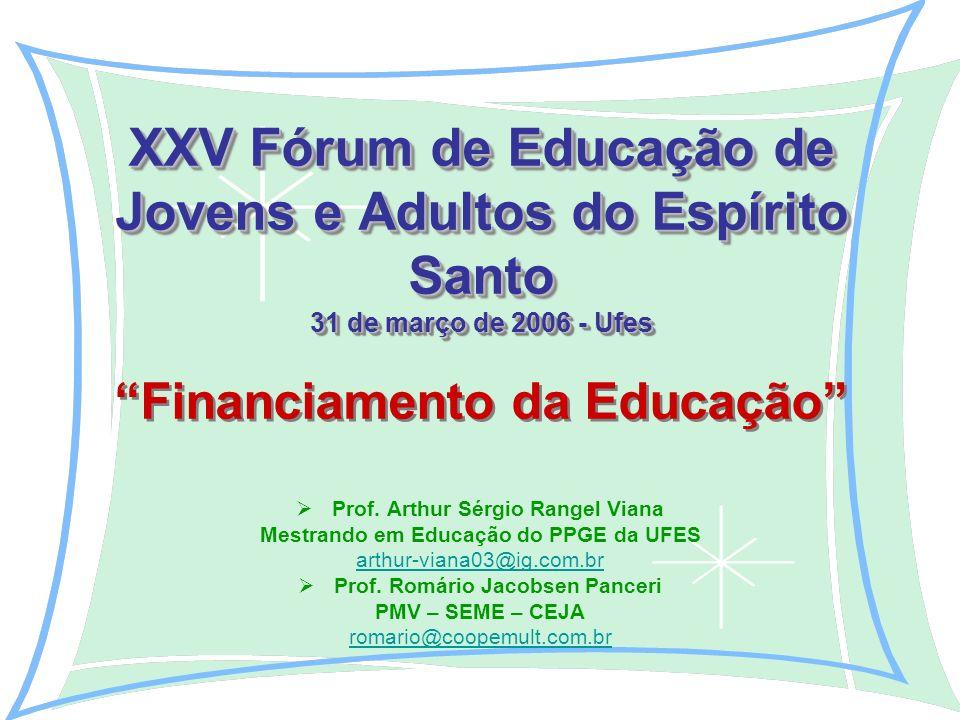 XXV Fórum de Educação de Jovens e Adultos do Espírito Santo 31 de março de 2006 - Ufes XXV Fórum de Educação de Jovens e Adultos do Espírito Santo 31 de março de 2006 - Ufes Financiamento da Educação Prof.
