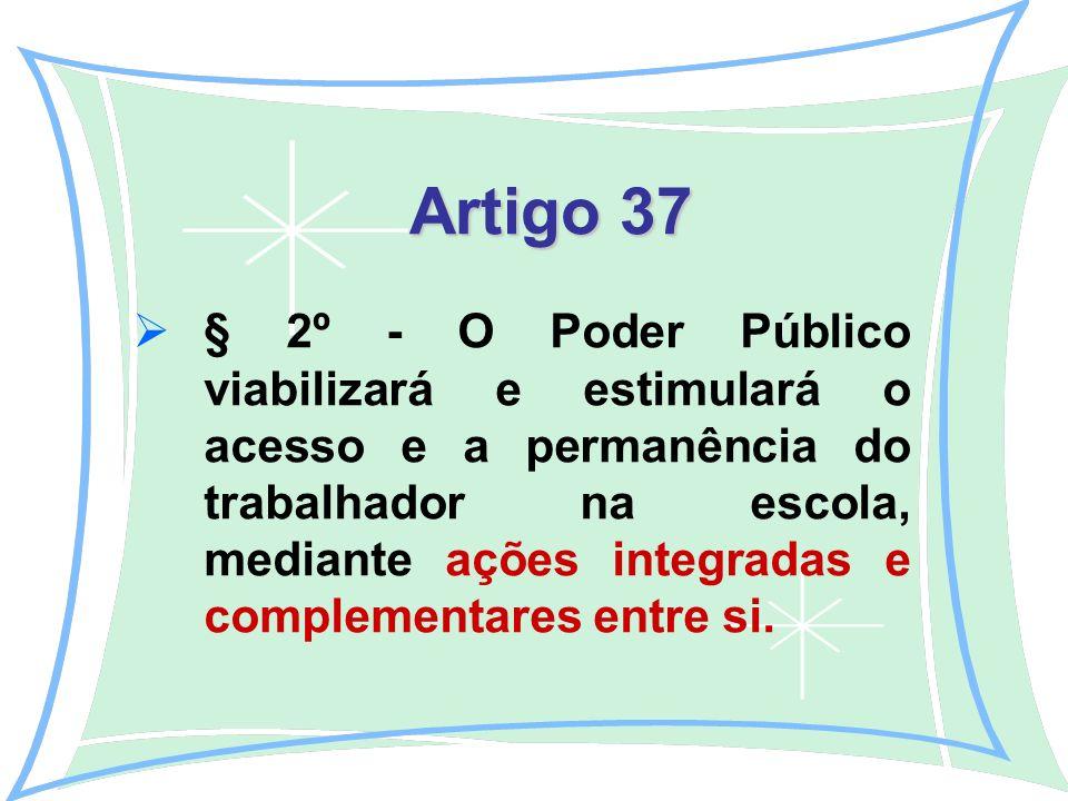 Artigo 37 Artigo 37 § 2º - O Poder Público viabilizará e estimulará o acesso e a permanência do trabalhador na escola, mediante ações integradas e complementares entre si.
