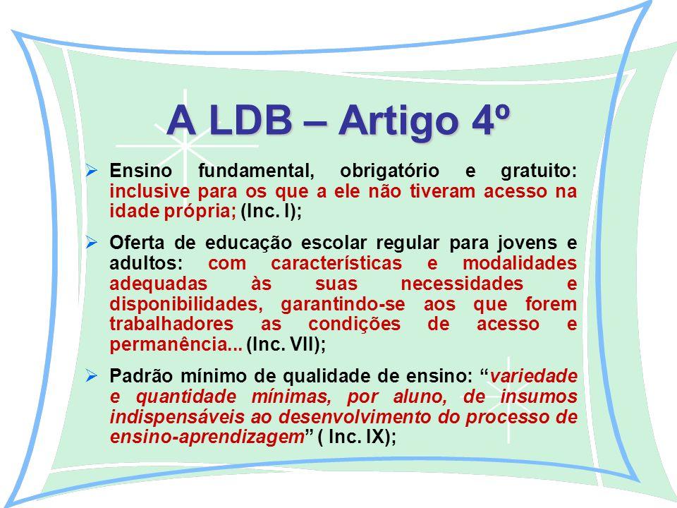 A LDB – Artigo 4º Ensino fundamental, obrigatório e gratuito: inclusive para os que a ele não tiveram acesso na idade própria; (Inc.
