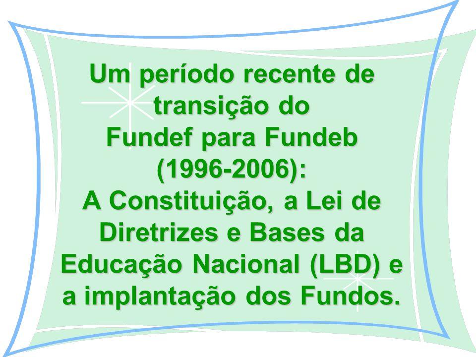 Um período recente de transição do Fundef para Fundeb (1996-2006): A Constituição, a Lei de Diretrizes e Bases da Educação Nacional (LBD) e a implantação dos Fundos.
