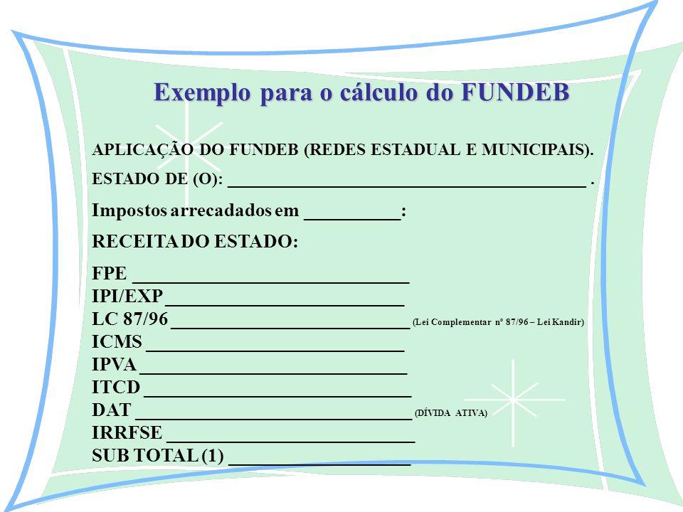 Exemplo para o cálculo do FUNDEB APLICAÇÃO DO FUNDEB (REDES ESTADUAL E MUNICIPAIS).