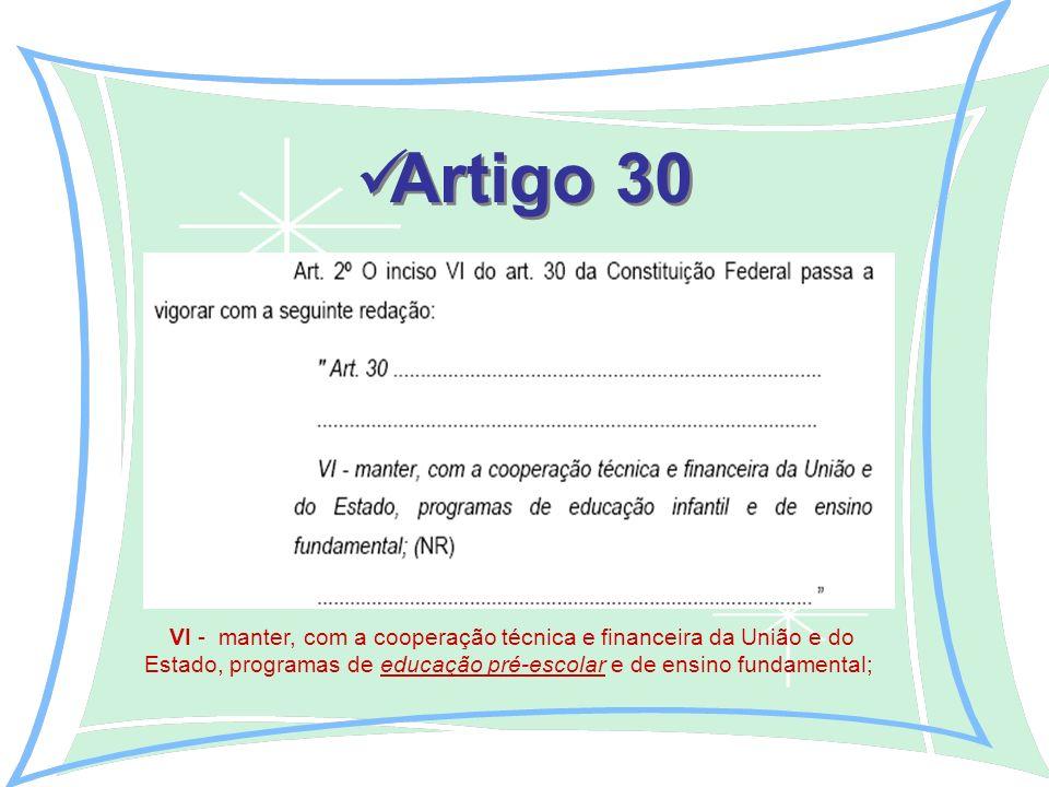 Artigo 30 VI - manter, com a cooperação técnica e financeira da União e do Estado, programas de educação pré-escolar e de ensino fundamental;