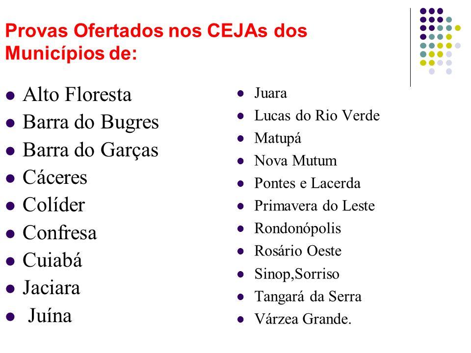 Provas Ofertados nos CEJAs dos Municípios de: Juara Lucas do Rio Verde Matupá Nova Mutum Pontes e Lacerda Primavera do Leste Rondonópolis Rosário Oest
