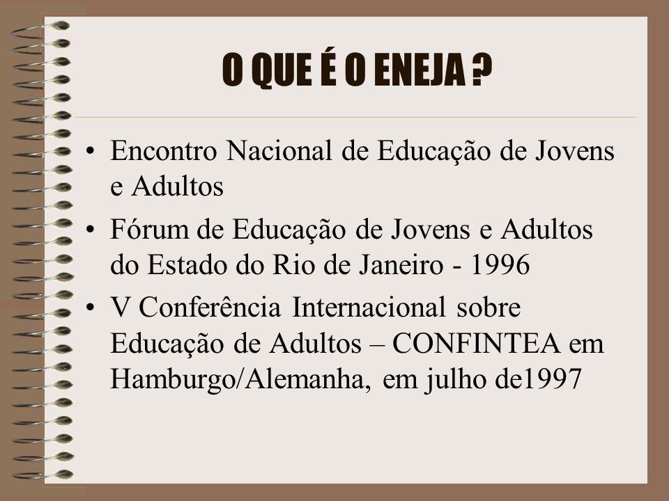HISTÓRICO I Encontro Nacional de Educação de Jovens e Adultos – Rio de Janeiro- 1999 II ENEJA- Campina Grande - Paraíba em 2000 III ENEJA- São Paulo em 2001 IV ENEJA- Belo Horizonte - Minas Gerais em 2002 V ENEJA- Cuiabá -Mato Grosso em 2003 VI ENEJA- Porto Alegre- Rio Grande do Sul em 2004 VII ENEJA- Brasília- DF em 2005 VIII ENEJA- Recife- Pernambuco em 2006