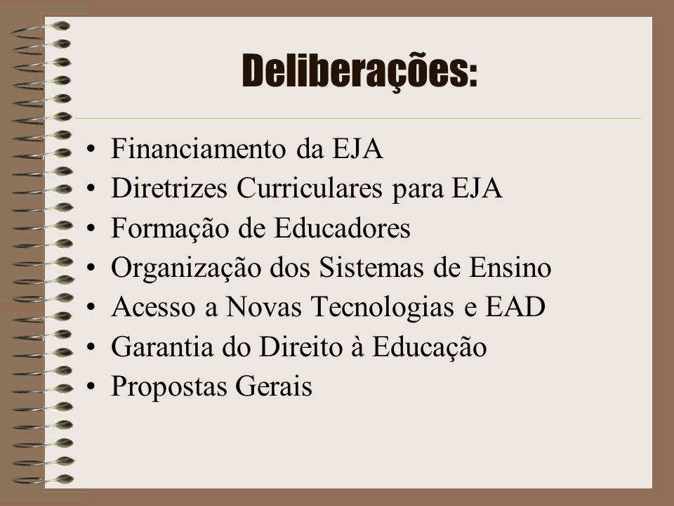 Deliberações: Financiamento da EJA Diretrizes Curriculares para EJA Formação de Educadores Organização dos Sistemas de Ensino Acesso a Novas Tecnologi