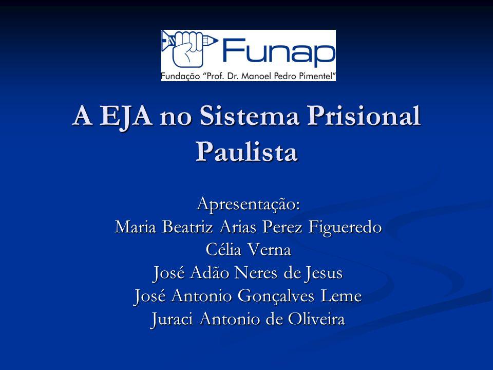 A EJA no Sistema Prisional Paulista Apresentação: Maria Beatriz Arias Perez Figueredo Célia Verna José Adão Neres de Jesus José Antonio Gonçalves Leme