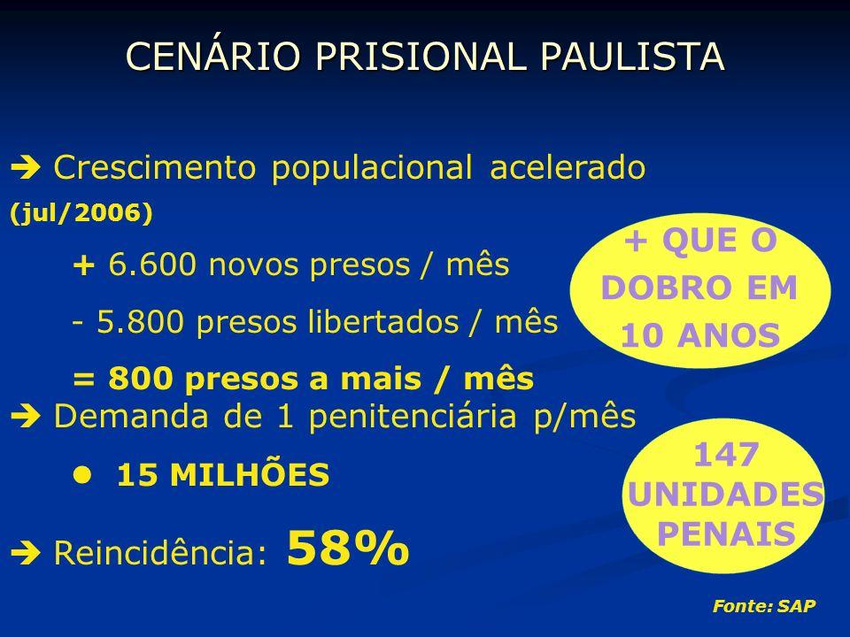 CENÁRIO PRISIONAL PAULISTA Crescimento populacional acelerado (jul/2006) + 6.600 novos presos / mês - 5.800 presos libertados / mês = 800 presos a mai