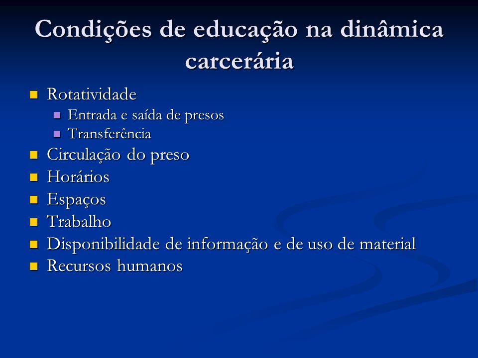 Condições de educação na dinâmica carcerária Rotatividade Rotatividade Entrada e saída de presos Entrada e saída de presos Transferência Transferência
