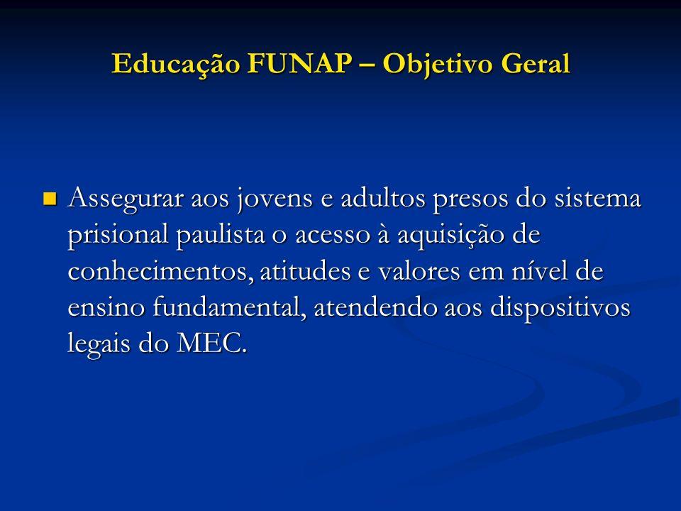 Educação FUNAP – Objetivo Geral Assegurar aos jovens e adultos presos do sistema prisional paulista o acesso à aquisição de conhecimentos, atitudes e