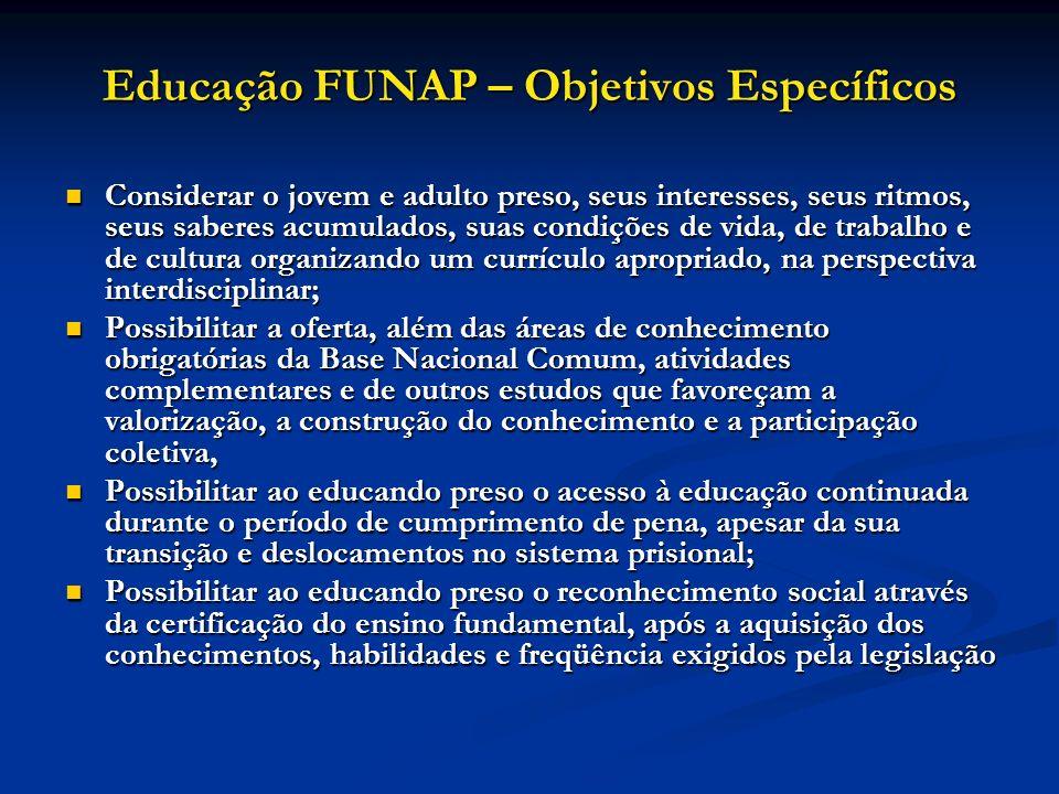 Educação FUNAP – Objetivos Específicos Considerar o jovem e adulto preso, seus interesses, seus ritmos, seus saberes acumulados, suas condições de vid
