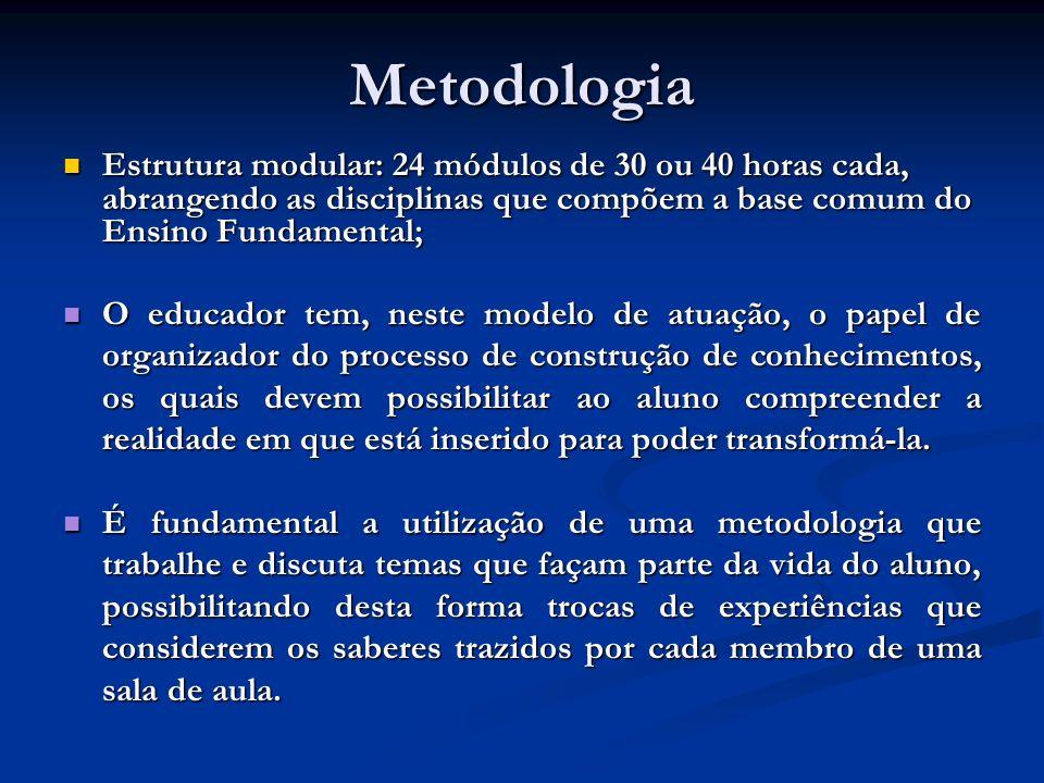 Metodologia Estrutura modular: 24 módulos de 30 ou 40 horas cada, abrangendo as disciplinas que compõem a base comum do Ensino Fundamental; Estrutura