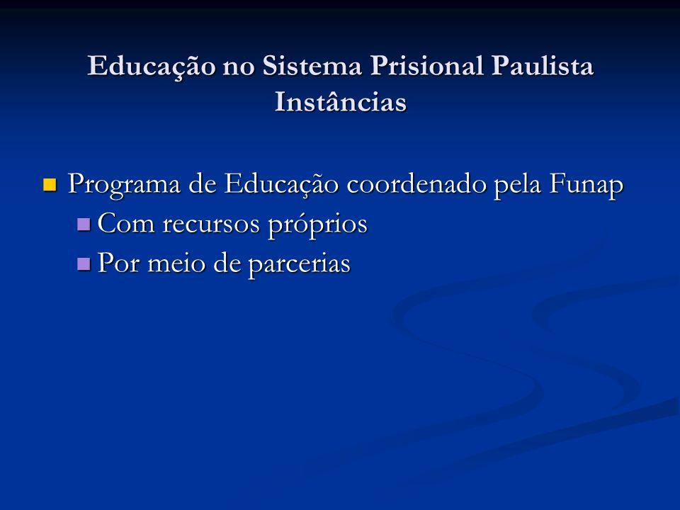 Educação no Sistema Prisional Paulista Instâncias Programa de Educação coordenado pela Funap Programa de Educação coordenado pela Funap Com recursos p