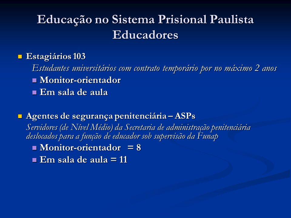 Educação no Sistema Prisional Paulista Educadores Estagiários 103 Estagiários 103 Estudantes universitários com contrato temporário por no máximo 2 an