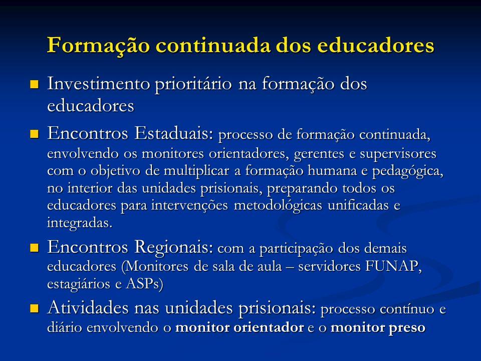 Formação continuada dos educadores Investimento prioritário na formação dos educadores Investimento prioritário na formação dos educadores Encontros E