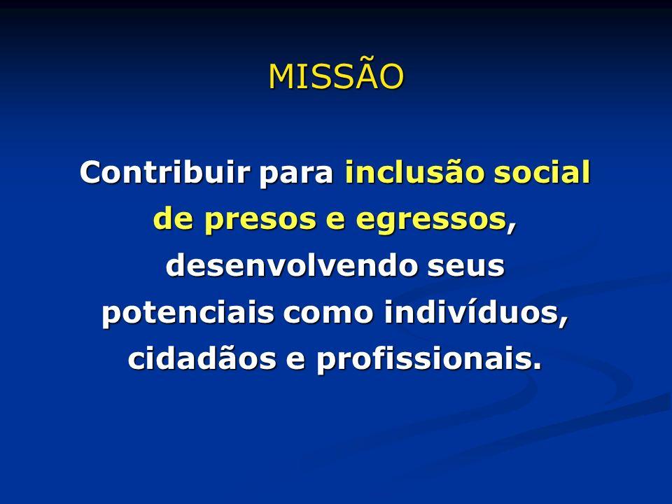Contribuir para inclusão social de presos e egressos, desenvolvendo seus potenciais como indivíduos, cidadãos e profissionais. MISSÃO