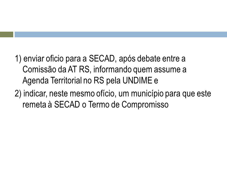 1) enviar oficio para a SECAD, após debate entre a Comissão da AT RS, informando quem assume a Agenda Territorial no RS pela UNDIME e 2) indicar, nest