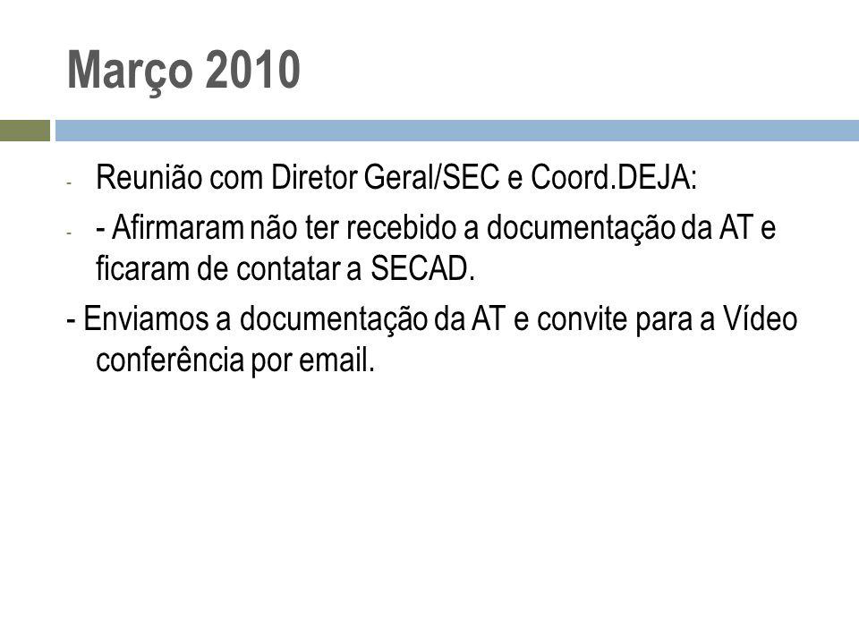 Março 2010 - Reunião com Diretor Geral/SEC e Coord.DEJA: - - Afirmaram não ter recebido a documentação da AT e ficaram de contatar a SECAD. - Enviamos