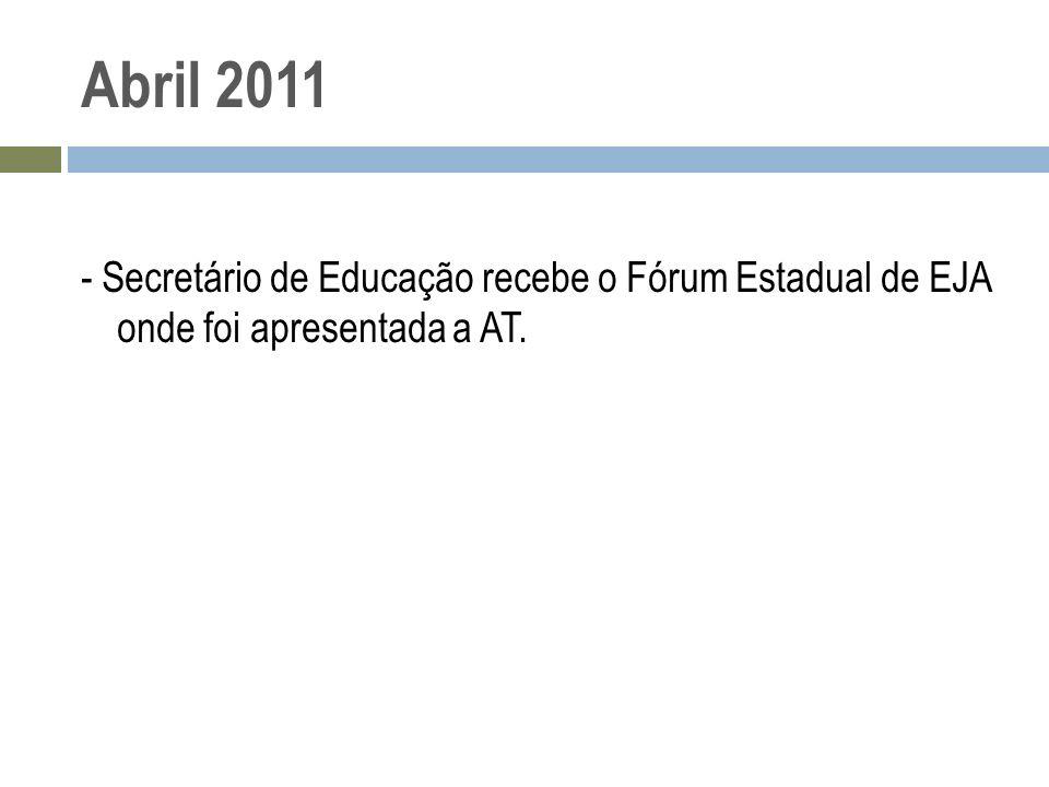 Abril 2011 - Secretário de Educação recebe o Fórum Estadual de EJA onde foi apresentada a AT.