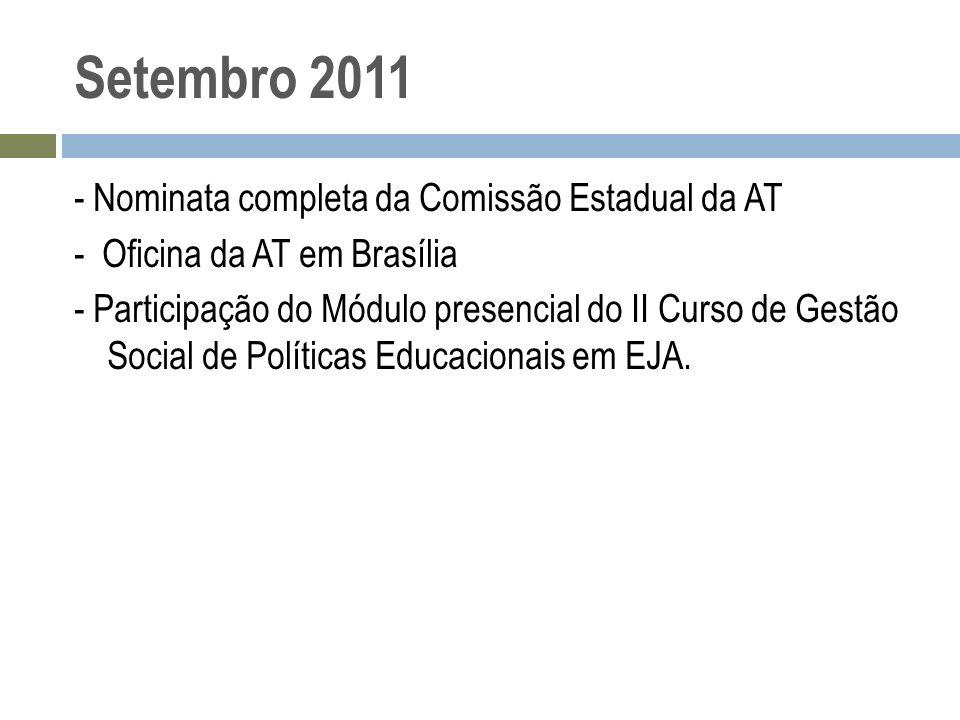 Setembro 2011 - Nominata completa da Comissão Estadual da AT - Oficina da AT em Brasília - Participação do Módulo presencial do II Curso de Gestão Soc