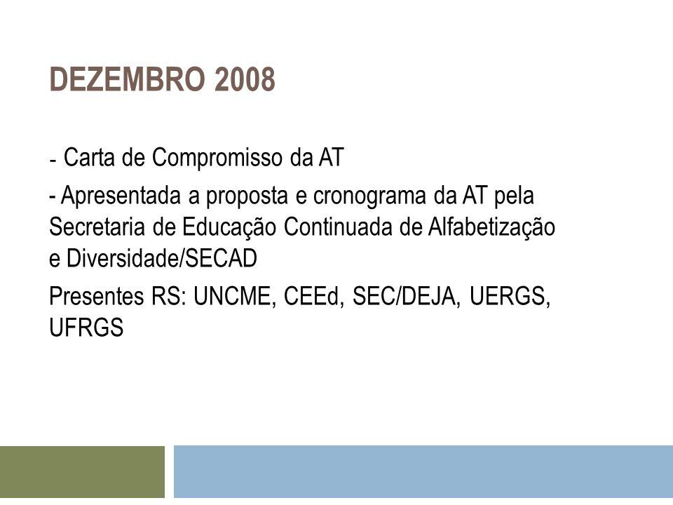 DEZEMBRO 2008 - Carta de Compromisso da AT - Apresentada a proposta e cronograma da AT pela Secretaria de Educação Continuada de Alfabetização e Diver