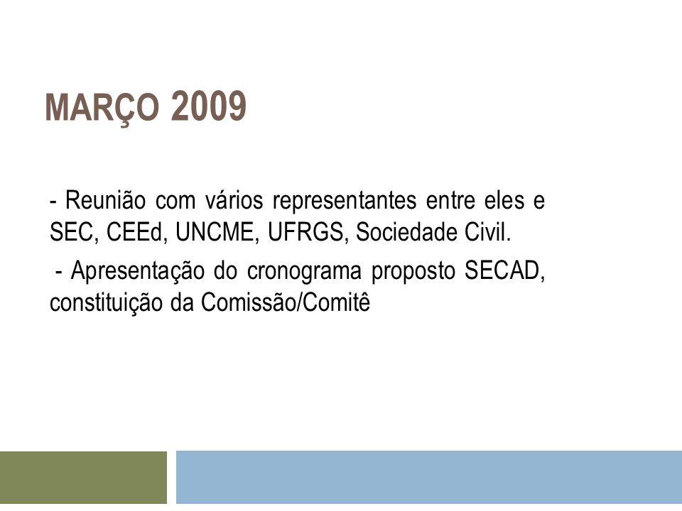 MARÇO 2009 - Reunião com vários representantes entre eles e SEC, CEEd, UNCME, UFRGS, Sociedade Civil. - Apresentação do cronograma proposto SECAD, con
