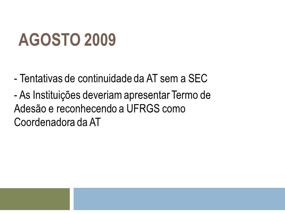 AGOSTO 2009 - Tentativas de continuidade da AT sem a SEC - As Instituições deveriam apresentar Termo de Adesão e reconhecendo a UFRGS como Coordenador