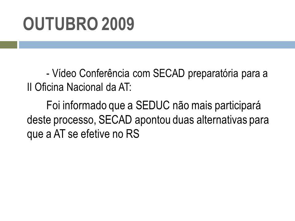 OUTUBRO 2009 - Vídeo Conferência com SECAD preparatória para a II Oficina Nacional da AT: Foi informado que a SEDUC não mais participará deste process